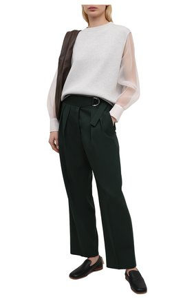 Женский хлопковый пуловер BRUNELLO CUCINELLI светло-серого цвета, арт. M19710500 | Фото 2
