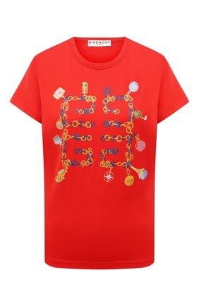 Женская хлопковая футболка GIVENCHY красного цвета, арт. BW707Y3Z4Q | Фото 1