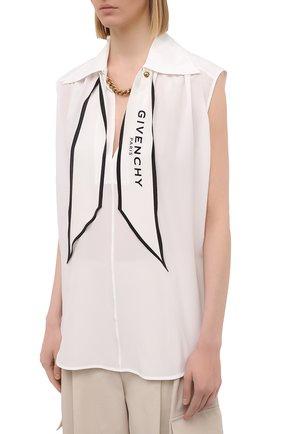 Женская шелковая блузка GIVENCHY белого цвета, арт. BW60ST12EH | Фото 3