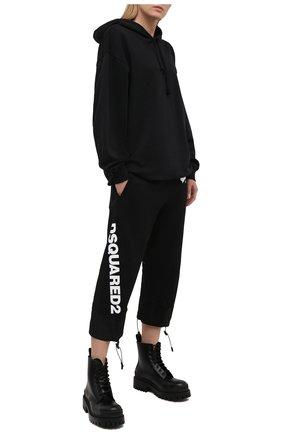 Женские хлопковые брюки DSQUARED2 черного цвета, арт. S75KB0200/S25042 | Фото 2