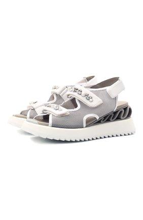 Женские текстильные сандалии LE SILLA серого цвета, арт. 6677S040M1PPFED | Фото 1