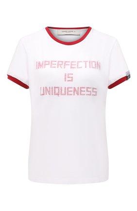 Женская хлопковая футболка GOLDEN GOOSE DELUXE BRAND белого цвета, арт. GWP00744.P000418 | Фото 1