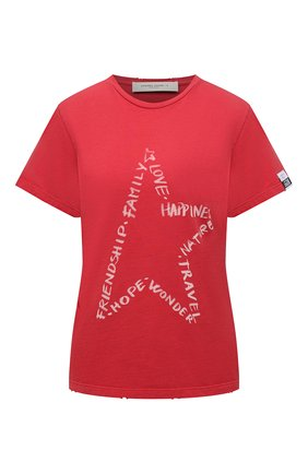 Женская хлопковая футболка GOLDEN GOOSE DELUXE BRAND красного цвета, арт. GWP00745.P000420 | Фото 1