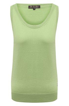 Женский топ из смеси шелка и хлопка LORO PIANA светло-зеленого цвета, арт. FAI5014 | Фото 1