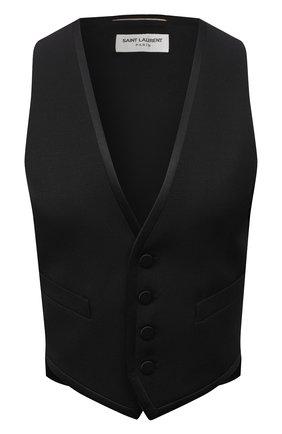 Женский шерстяной жилет SAINT LAURENT черного цвета, арт. 647510/Y512W | Фото 1