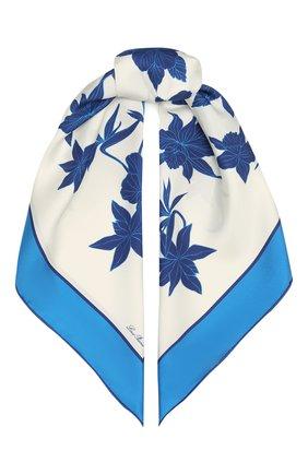 Женский шелковый платок LORO PIANA голубого цвета, арт. FAL6213   Фото 1 (Материал: Шелк, Текстиль; Принт: С принтом)