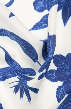 Женский шелковый платок LORO PIANA голубого цвета, арт. FAL6213   Фото 2 (Материал: Шелк, Текстиль; Принт: С принтом)