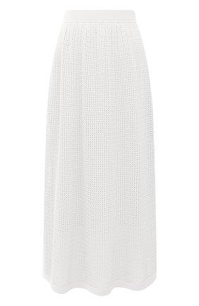 Женская юбка из хлопка и шелка LORO PIANA белого цвета, арт. FAL5799 | Фото 1