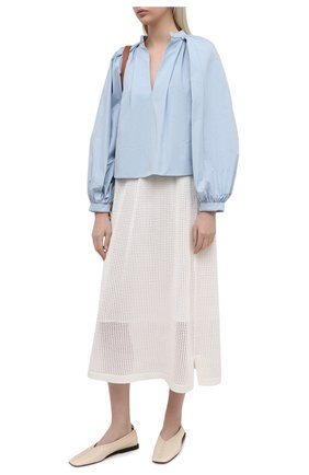 Женская юбка из хлопка и шелка LORO PIANA белого цвета, арт. FAL5799 | Фото 2