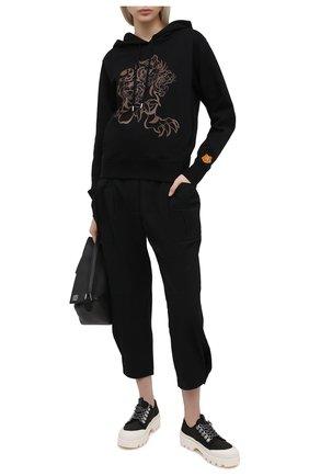 Женский хлопковое худи KENZO черного цвета, арт. FB52SW8734ML   Фото 2