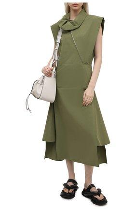 Женское хлопковое платье KENZO хаки цвета, арт. FB52R00349SA | Фото 2