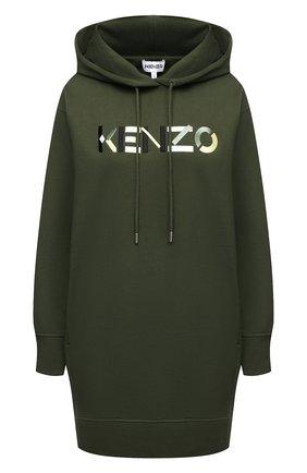 Женское хлопковое платье KENZO хаки цвета, арт. FA62R07724M0 | Фото 1