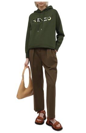 Женское хлопковое платье KENZO хаки цвета, арт. FA62R07724M0 | Фото 2
