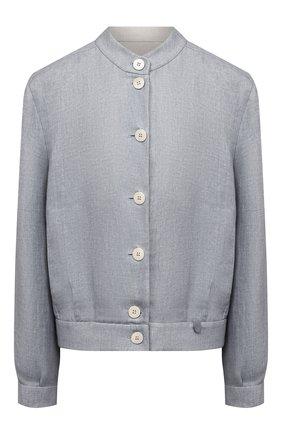 Женская льняная куртка GIORGIO ARMANI голубого цвета, арт. 1SH0C052/T02FE | Фото 1