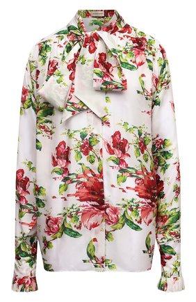 Женская шелковая блузка ALEXANDRE VAUTHIER разноцветного цвета, арт. 211SH1403 1414-211 | Фото 1 (Рукава: Длинные; Материал внешний: Шелк; Длина (для топов): Стандартные; Женское Кросс-КТ: Блуза-одежда; Принт: С принтом; Стили: Романтичный)
