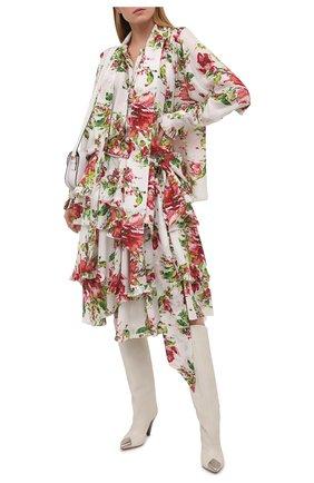 Женская шелковая блузка ALEXANDRE VAUTHIER разноцветного цвета, арт. 211SH1403 1414-211 | Фото 2 (Рукава: Длинные; Материал внешний: Шелк; Длина (для топов): Стандартные; Женское Кросс-КТ: Блуза-одежда; Принт: С принтом; Стили: Романтичный)
