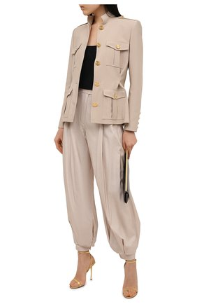 Женские шелковые брюки ALEXANDRE VAUTHIER бежевого цвета, арт. 211PA1351 1409-211 | Фото 2