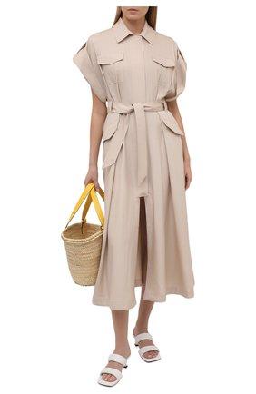 Женское шелковое платье ALEXANDRE VAUTHIER бежевого цвета, арт. 211DR1447 1409-211 | Фото 2