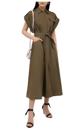 Женское шелковое платье ALEXANDRE VAUTHIER хаки цвета, арт. 211DR1447 1409-211 | Фото 2