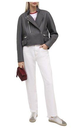Женские комбинированные кеды andy SAINT LAURENT белого цвета, арт. 607405/0ZSB0 | Фото 2 (Подошва: Платформа; Материал внутренний: Натуральная кожа)