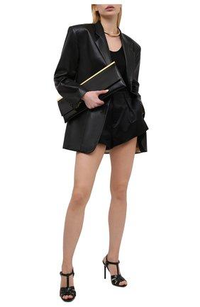 Женские кожаные босоножки tribute SAINT LAURENT темно-зеленого цвета, арт. 620673/1YQ00 | Фото 2