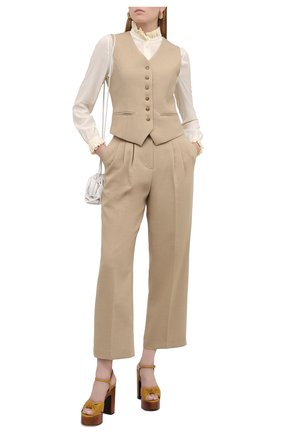 Женские кожаные босоножки bianca SAINT LAURENT желтого цвета, арт. 649087/20500   Фото 2