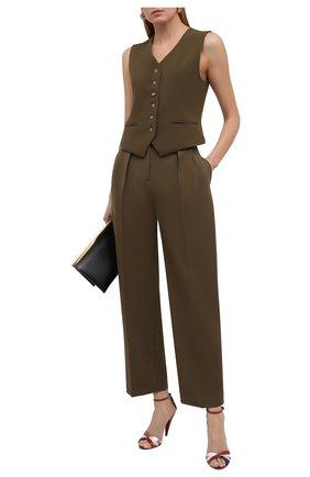 Женские кожаные босоножки kristen SAINT LAURENT красного цвета, арт. 650843/1ZJ70 | Фото 2
