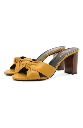Женские кожаные мюли bianca SAINT LAURENT желтого цвета, арт. 652739/20500 | Фото 1