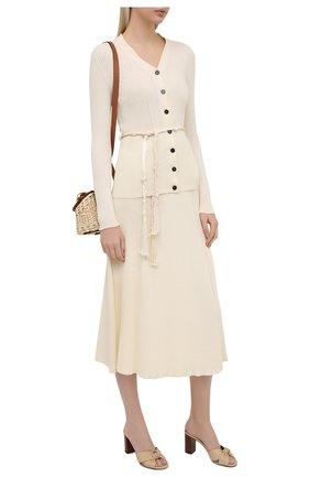 Женские кожаные мюли bianca SAINT LAURENT бежевого цвета, арт. 652739/20500   Фото 2