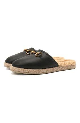 Женского домашние туфли GUCCI черного цвета, арт. 645757/17T40 | Фото 1