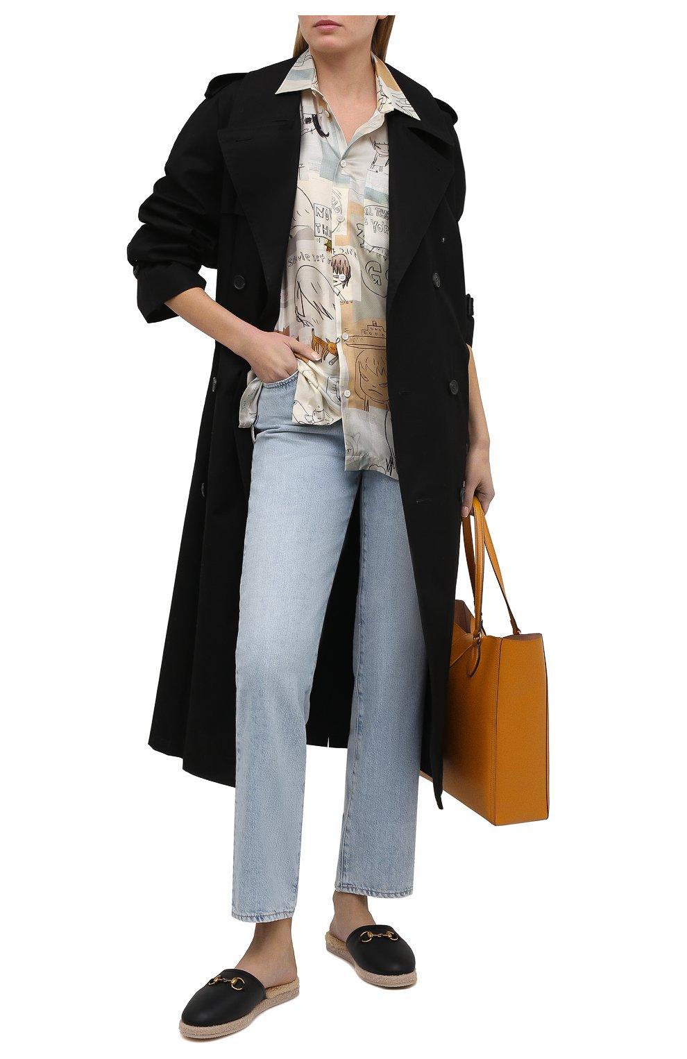 Женского домашние туфли GUCCI черного цвета, арт. 645757/17T40 | Фото 2