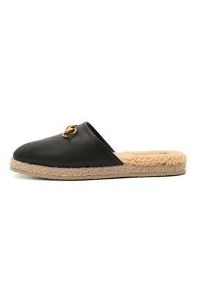 Женского домашние туфли GUCCI черного цвета, арт. 645757/17T40 | Фото 3