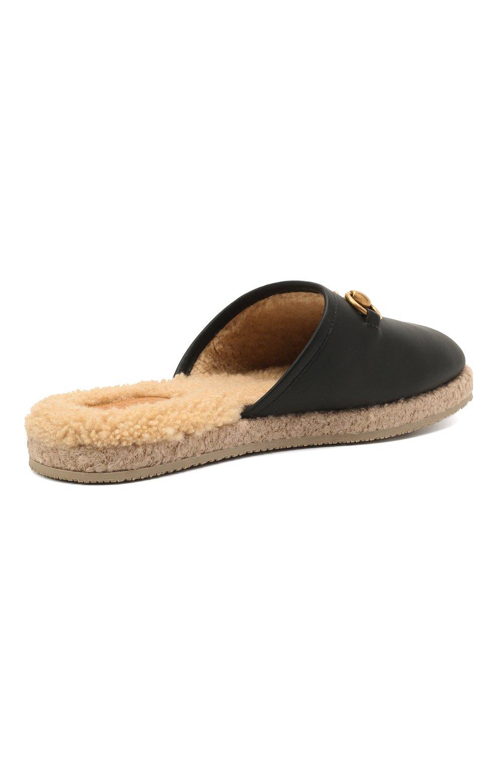 Женского домашние туфли GUCCI черного цвета, арт. 645757/17T40 | Фото 4