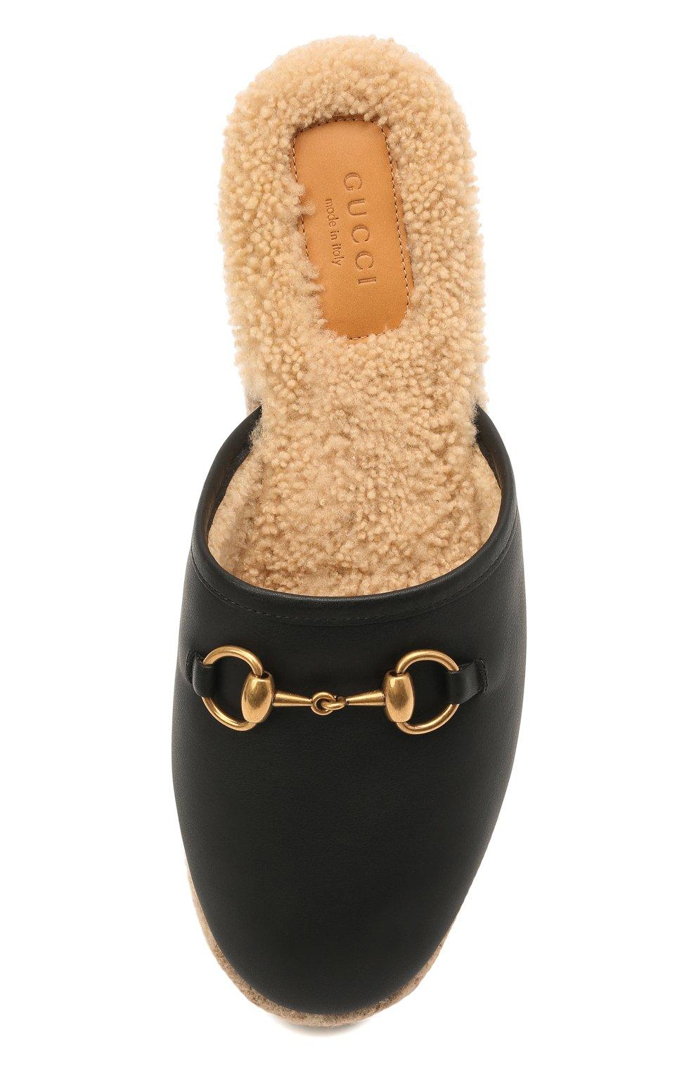 Женского домашние туфли GUCCI черного цвета, арт. 645757/17T40 | Фото 5