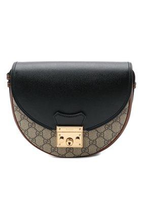 Женская сумка padlock GUCCI черного цвета, арт. 644524/HUHJG   Фото 1 (Материал: Экокожа; Ремень/цепочка: На ремешке; Размер: small; Сумки-технические: Сумки через плечо)