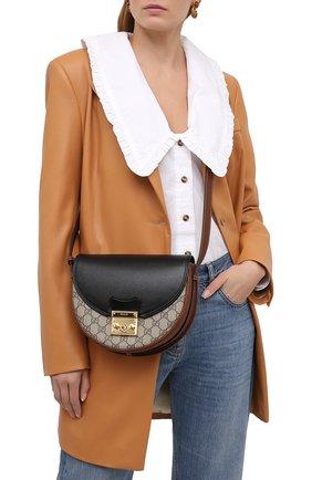 Женская сумка padlock GUCCI черного цвета, арт. 644524/HUHJG   Фото 2 (Материал: Экокожа; Ремень/цепочка: На ремешке; Размер: small; Сумки-технические: Сумки через плечо)