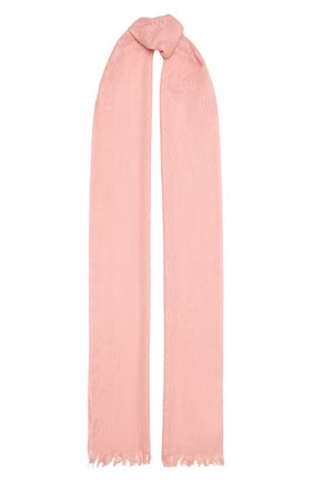 Женский шарф из шерсти и шелка GUCCI розового цвета, арт. 640680/3GG01   Фото 1