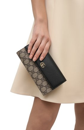 Женские кожаный кошелек на цепочке petite marmont GUCCI черного цвета, арт. 546585/17WAG | Фото 2