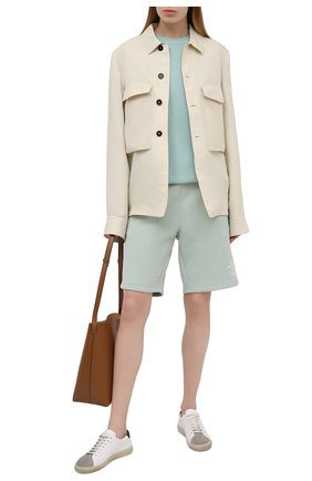 Женские хлопковые шорты STELLA MCCARTNEY светло-зеленого цвета, арт. 603073/SMP83 | Фото 2