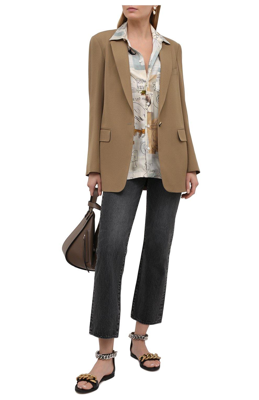 Женская шелковая рубашка STELLA MCCARTNEY бежевого цвета, арт. 603034/SRN05 | Фото 2