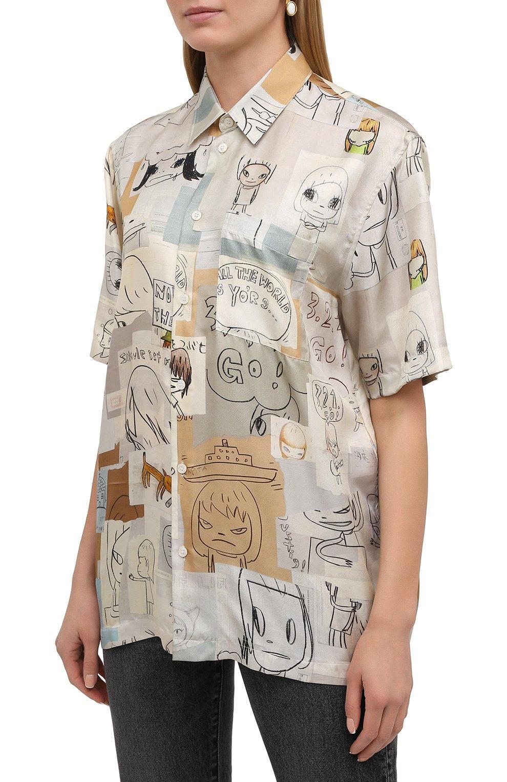 Женская шелковая рубашка STELLA MCCARTNEY бежевого цвета, арт. 603034/SRN05 | Фото 3
