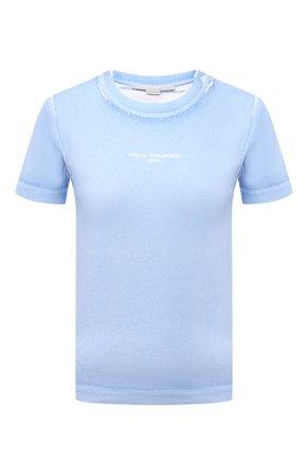 Женская хлопковая футболка STELLA MCCARTNEY голубого цвета, арт. 602907/S0W56 | Фото 1