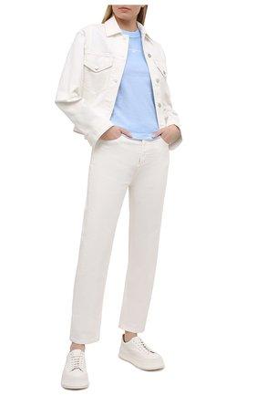 Женская хлопковая футболка STELLA MCCARTNEY голубого цвета, арт. 602907/S0W56 | Фото 2