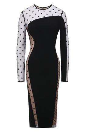 Женское платье STELLA MCCARTNEY черного цвета, арт. 602895/SNA28 | Фото 1 (Рукава: Длинные; Материал подклада: Шелк; Материал внешний: Вискоза, Синтетический материал; Длина Ж (юбки, платья, шорты): До колена; Женское Кросс-КТ: Платье-одежда; Стили: Гламурный; Случай: Вечерний)