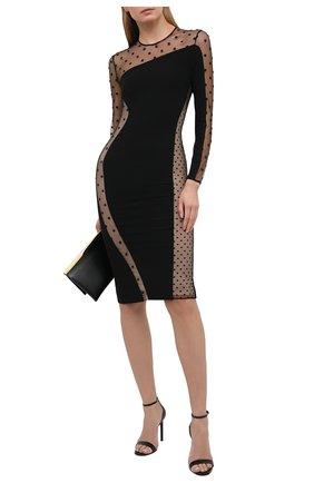 Женское платье STELLA MCCARTNEY черного цвета, арт. 602895/SNA28 | Фото 2 (Рукава: Длинные; Материал подклада: Шелк; Материал внешний: Вискоза, Синтетический материал; Длина Ж (юбки, платья, шорты): До колена; Женское Кросс-КТ: Платье-одежда; Стили: Гламурный; Случай: Вечерний)