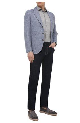 Мужская хлопковая рубашка VAN LAACK серого цвета, арт. M-PER-LSF/180031 | Фото 2 (Материал внешний: Хлопок; Длина (для топов): Стандартные; Рукава: Длинные; Случай: Повседневный; Манжеты: На пуговицах; Принт: Однотонные; Воротник: Акула; Стили: Кэжуэл)