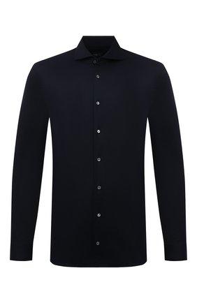 Мужская хлопковая рубашка VAN LAACK темно-синего цвета, арт. M-PER-LSF/180031 | Фото 1 (Материал внешний: Хлопок; Рукава: Длинные; Длина (для топов): Стандартные; Случай: Повседневный; Манжеты: На пуговицах; Принт: Однотонные; Воротник: Акула; Стили: Кэжуэл)