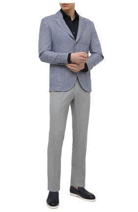 Мужская хлопковая рубашка VAN LAACK темно-синего цвета, арт. M-PER-LSF/180031 | Фото 2 (Материал внешний: Хлопок; Рукава: Длинные; Длина (для топов): Стандартные; Случай: Повседневный; Манжеты: На пуговицах; Принт: Однотонные; Воротник: Акула; Стили: Кэжуэл)