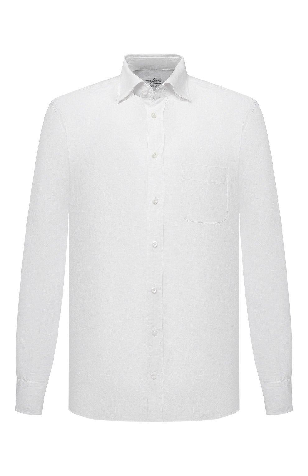 Мужская льняная рубашка VAN LAACK белого цвета, арт. RADIL-TFW/155970   Фото 1 (Манжеты: На пуговицах; Воротник: Button down; Рукава: Длинные; Рубашки М: Regular Fit; Случай: Повседневный; Длина (для топов): Стандартные; Материал внешний: Лен; Принт: Однотонные; Стили: Кэжуэл)
