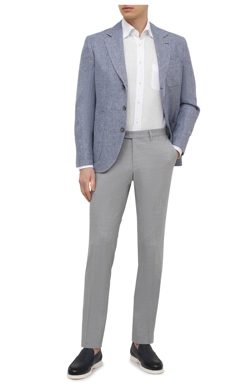 Мужская льняная рубашка VAN LAACK белого цвета, арт. RADIL-TFW/155970   Фото 2 (Манжеты: На пуговицах; Воротник: Button down; Рукава: Длинные; Рубашки М: Regular Fit; Случай: Повседневный; Длина (для топов): Стандартные; Материал внешний: Лен; Принт: Однотонные; Стили: Кэжуэл)